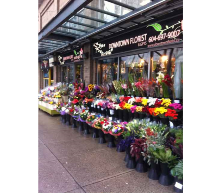 Downtown Floral Storefront in Vancouver BC, Downtown Florist