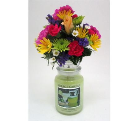 Village Candle with Flowers in Salisbury MD, Kitty's Flowers