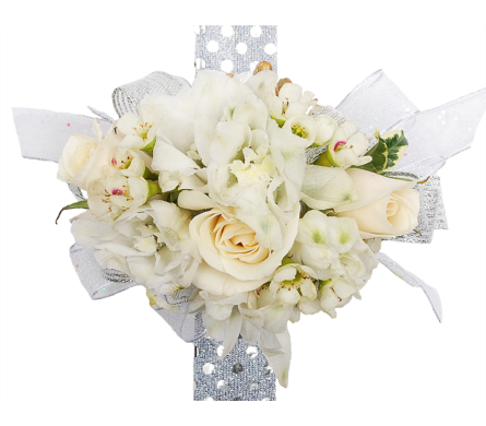 White Spray Roses & White Delphinium in Madison WI, Felly's Flowers