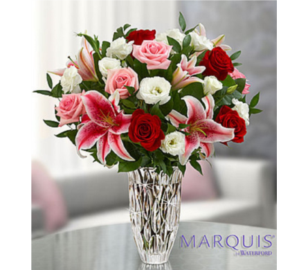 Marquis by Waterford® Blushing Rose and Lily Bouqu in Huntington WV, Archer's Flowers and Gallery
