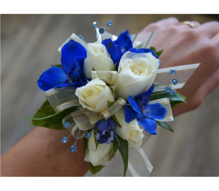 Delightful Delphinium Corsage in Muskegon MI, Wasserman's Flower Shop