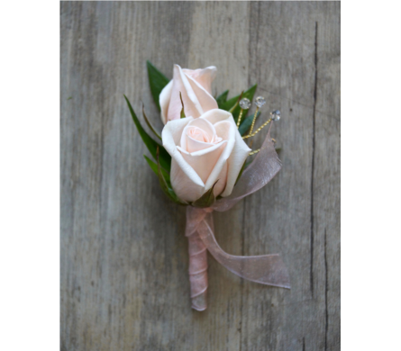 Soft Rose Boutonniere in Muskegon MI, Wasserman's Flower Shop