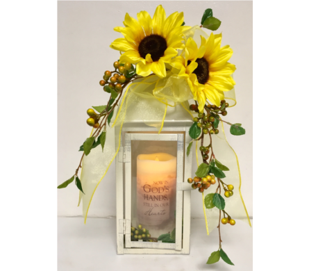 Sunflower Lantern with Memorial Candle in Wyoming MI, Wyoming Stuyvesant Floral