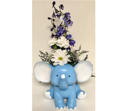 Baby Elephant Bouquet-Available in Blue or Pink in Wyoming MI, Wyoming Stuyvesant Floral
