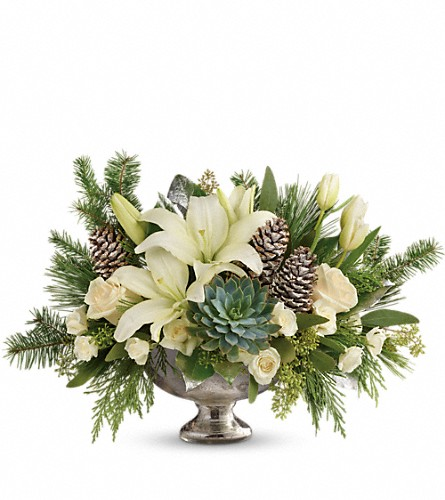 Teleflora's Winter Wilds Centerpiece in Plano TX, Petals, A Florist