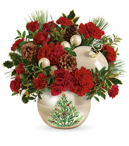 Teleflora's Classic Pearl Ornament Bouquet in Encinitas CA, Encinitas Flower Shop