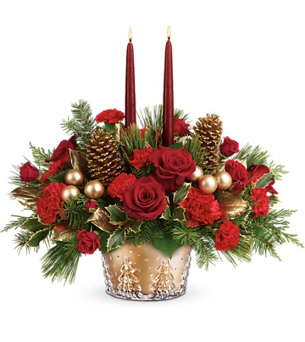 Teleflora's Festive Glow Centerpiece in Brewster NY, The Brewster Flower Garden