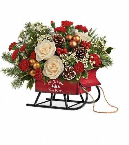 Teleflora's Joyful Sleigh Bouquet in Lubbock TX, House of Flowers