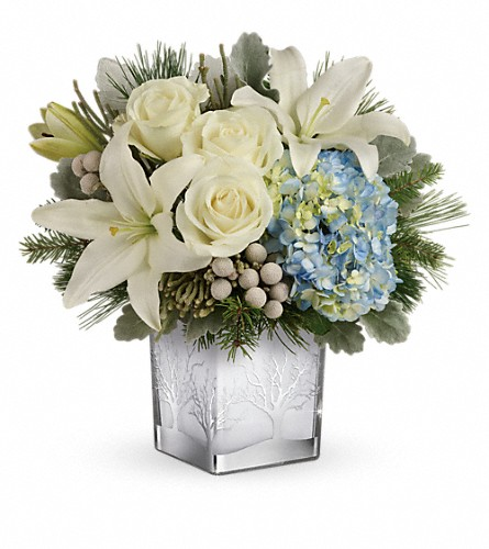 Teleflora's Silver Snow Bouquet in Clarksville TN, Four Season's Florist