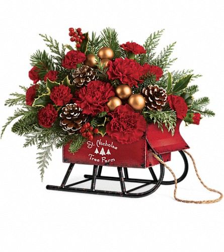 Teleflora's Vintage Sleigh Bouquet in Saugerties NY, The Flower Garden