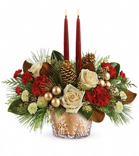 Teleflora's Winter Pines Centerpiece in Cary NC, Cary Florist