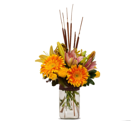 September�s Bouquet- Sunshine and Cattails in Casper WY, Keefe's Flowers
