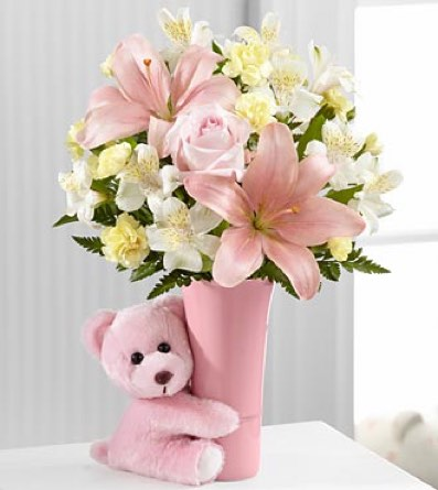 The Baby Girl Big Hug® Bouquet from Neal & Jean''s in Sapulpa OK, Neal & Jean's Flowers & Gifts, Inc.