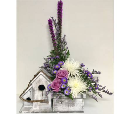 Vintage Birdhouse with Lavender Roses in Wyoming MI, Wyoming Stuyvesant Floral