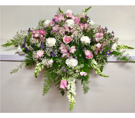 Pink and White Casket Spray (17A - Adult) in Wyoming MI, Wyoming Stuyvesant Floral