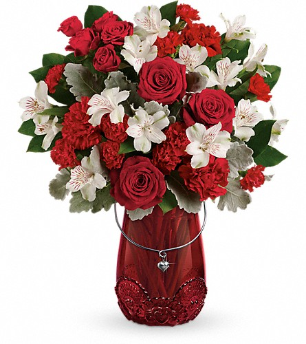 Teleflora's Red Haute Bouquet in Amherst NY, The Trillium's Courtyard Florist
