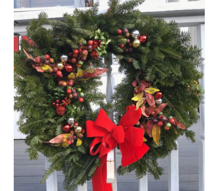Christmas Wreath with Berries in usa-send-flowers NJ, Stanley's America's Florist & Gifts