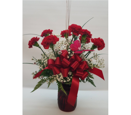 12 Red Carnations in Bossier City LA, Lisa's Flowers & Gifts