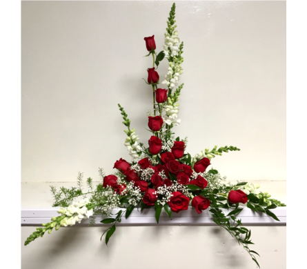 2 Dozen Red Roses with Snapdragons in Wyoming MI, Wyoming Stuyvesant Floral