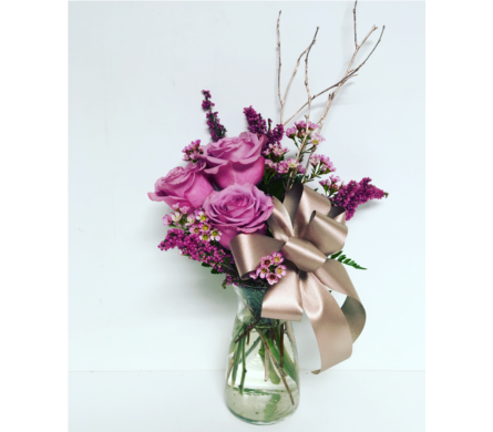 Moody Blues and Rose Gold - 6 inch Vibe Vase in Wyoming MI, Wyoming Stuyvesant Floral