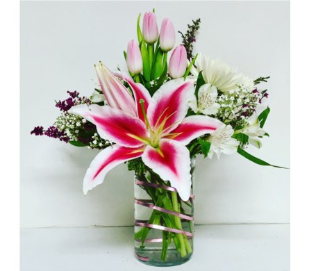 Stars and Tulips-6 inch Cylinder Vase- All Around in Wyoming MI, Wyoming Stuyvesant Floral