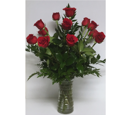 Dozen Long-Stem Red Roses with Mixed Greenery in Wyoming MI, Wyoming Stuyvesant Floral