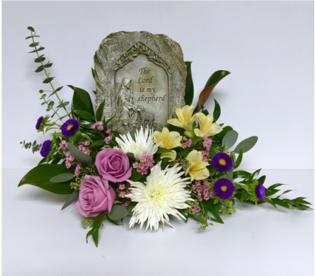 Floral Design with The Lord is my Shepherd Plaque in Wyoming MI, Wyoming Stuyvesant Floral