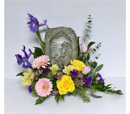 Floral Design with God's Angel Plaque in Wyoming MI, Wyoming Stuyvesant Floral