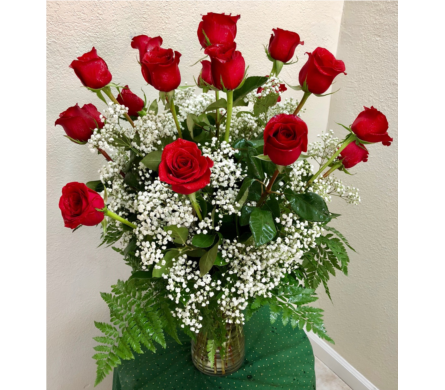 18 Red Roses in Stockton CA, J & S Flowers