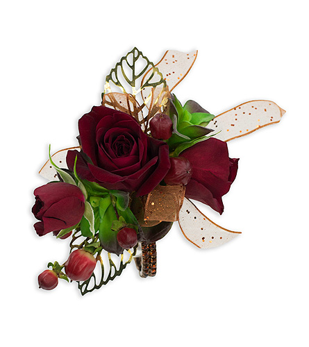 Ruby Metallic Wrist Corsage in Oshkosh WI, Flowers & Leaves LLC