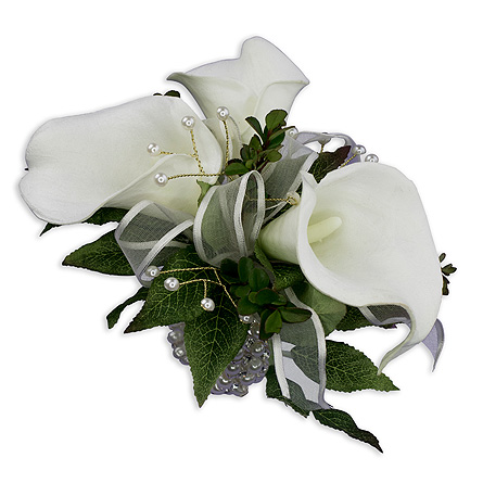 Lily Pearl Wrist Corsage in Oshkosh WI, Flowers & Leaves LLC