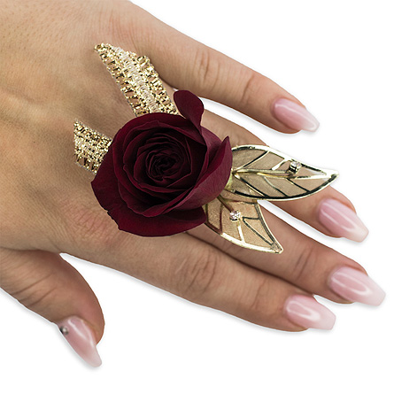 Ruby Metallic Floral Ring in Oshkosh WI, Flowers & Leaves LLC