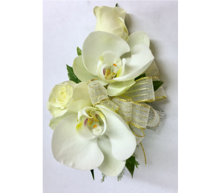 Orchid Elegance - Includes Silver Elastic Wristlet in Wyoming MI, Wyoming Stuyvesant Floral