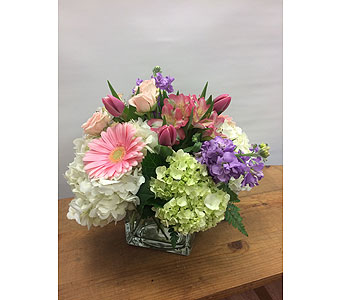 Pretty Pastel Cube in Manhasset NY, Town & Country Flowers