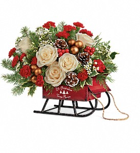 Teleflora's Joyful Sleigh Bouquet in Brewster NY, The Brewster Flower Garden