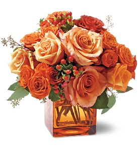 Orange Rose Mosaic in Santa Monica CA, Edelweiss Flower Boutique