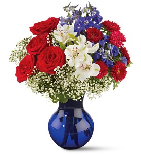 Red White and True Bouquet in Dansville NY, Dogwood Floral Company