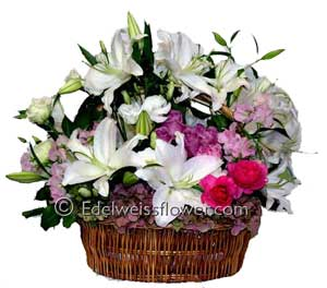 White Lilies & Pastel Blooms, Flower Bouquet in Santa Monica CA, Edelweiss Flower Boutique
