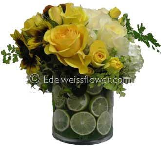 Sunshine & Limes Flower Bouquet in Santa Monica CA, Edelweiss Flower Boutique