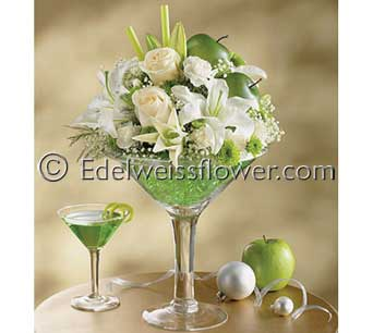 Apple Martini Celebration Flower Bouquet in Santa Monica CA, Edelweiss Flower Boutique