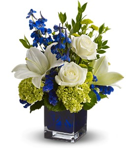 Serenade in Blue in Santa Monica CA, Edelweiss Flower Boutique