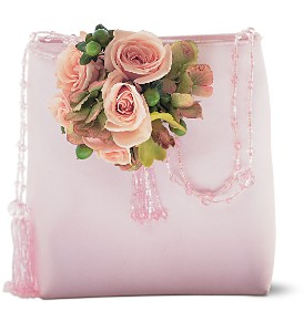 Pink and Green Purse Corsage in Chicago IL, La Salle Flowers