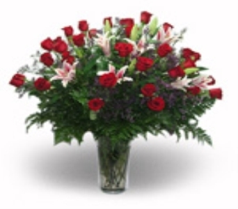 Three Dozen Roses and Stargazer Lilies in Henderson NV, Beautiful Bouquet Florist