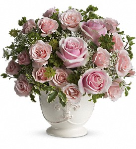 Teleflora's Parisian Pinks with Roses in Brownsburg IN, Queen Anne's Lace Flowers & Gifts