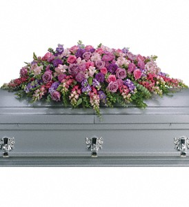 Lavender Tribute Casket Spray in Yardley PA, Ye Olde Yardley Florist
