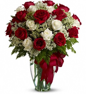 Love's Divine Bouquet - Long Stemmed Roses in Brownsburg IN, Queen Anne's Lace Flowers & Gifts