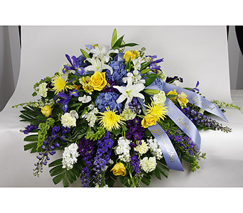 Blue & Yellow Casket Piece in Brownsburg IN, Queen Anne's Lace Flowers & Gifts