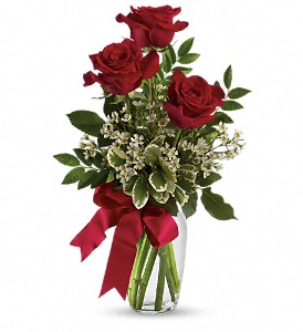 Thoughts of You Bouquet with Red Roses in Bay City MI, Keit's Flowers