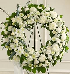 All White Standing Wreath in Perrysburg & Toledo OH  OH, Ken's Flower Shops
