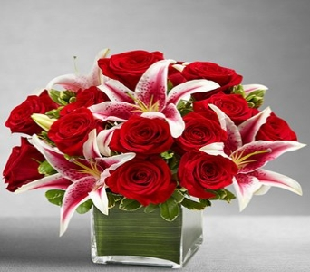 Red Rose and Lily Cube in Snellville GA, Snellville Florist